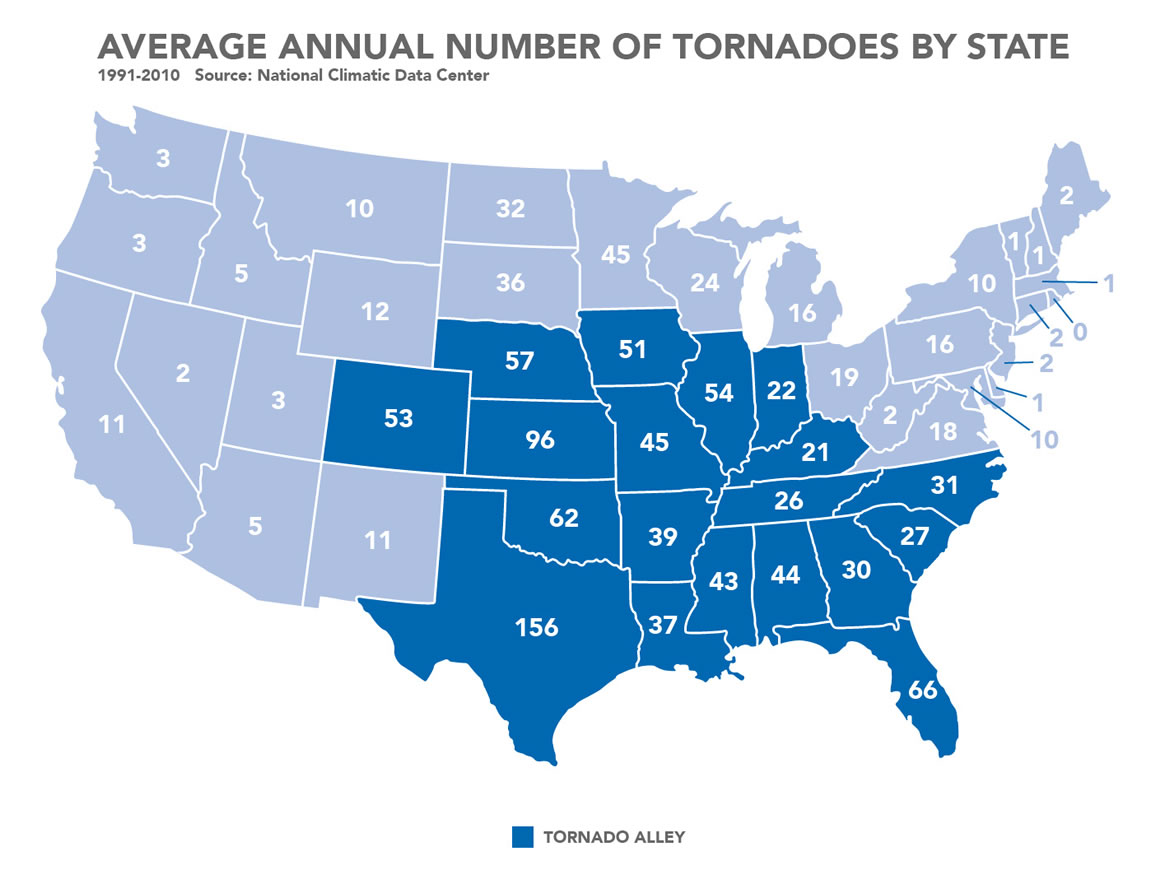 Map showing Tornado Frequency by state